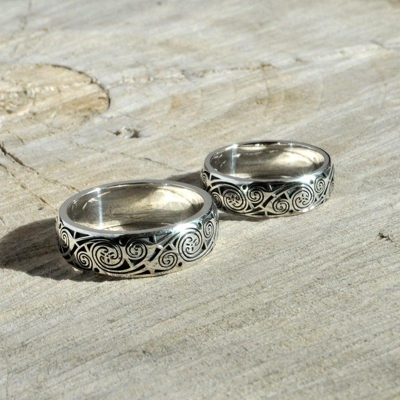 Wedding Rings Book Of Kells Silver Celtic Wedding Rings Couple Wedding Band Set