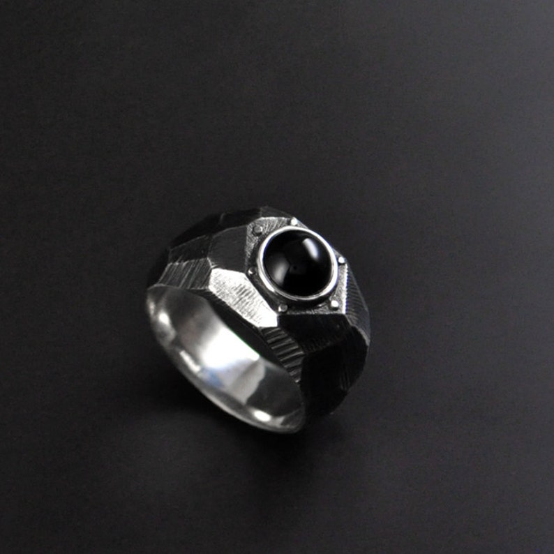 Modern Men/'s Statement Ring Brutalist Statement Ring Sterling Silver Contemporary Ring Lapidibus Contemporary Statement Ring