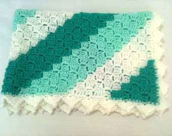 Crochet C2C Baby Blanket in Green and White