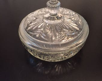Vintage Cut Glass Avon Jar - Treasure Chest - Candy Bowl