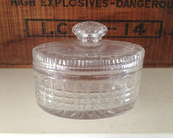 Vintage Cut Glass Treasure Box - Treasure Chest - Coin Dish - Trinket Box