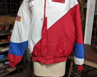 713b107cf78f33 Swingster 1970s Firestone Olympic Jacket Red White and Blue USA Patriotic  Windbreaker