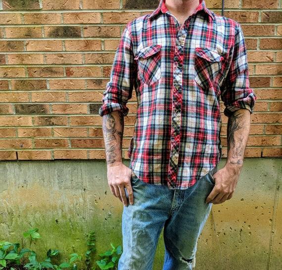 JP Austin 1970s Red Flannel Button Down Shirt Grun