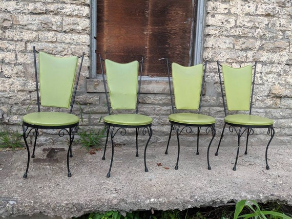 4 Mcdade Avocado Green Mid Century Modern Chairs Patio Dining Etsy