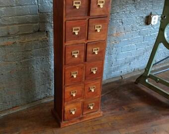 Walnut Card Catalog Vntg Homemade 1950s Study Office Multi Drawer Cabinet