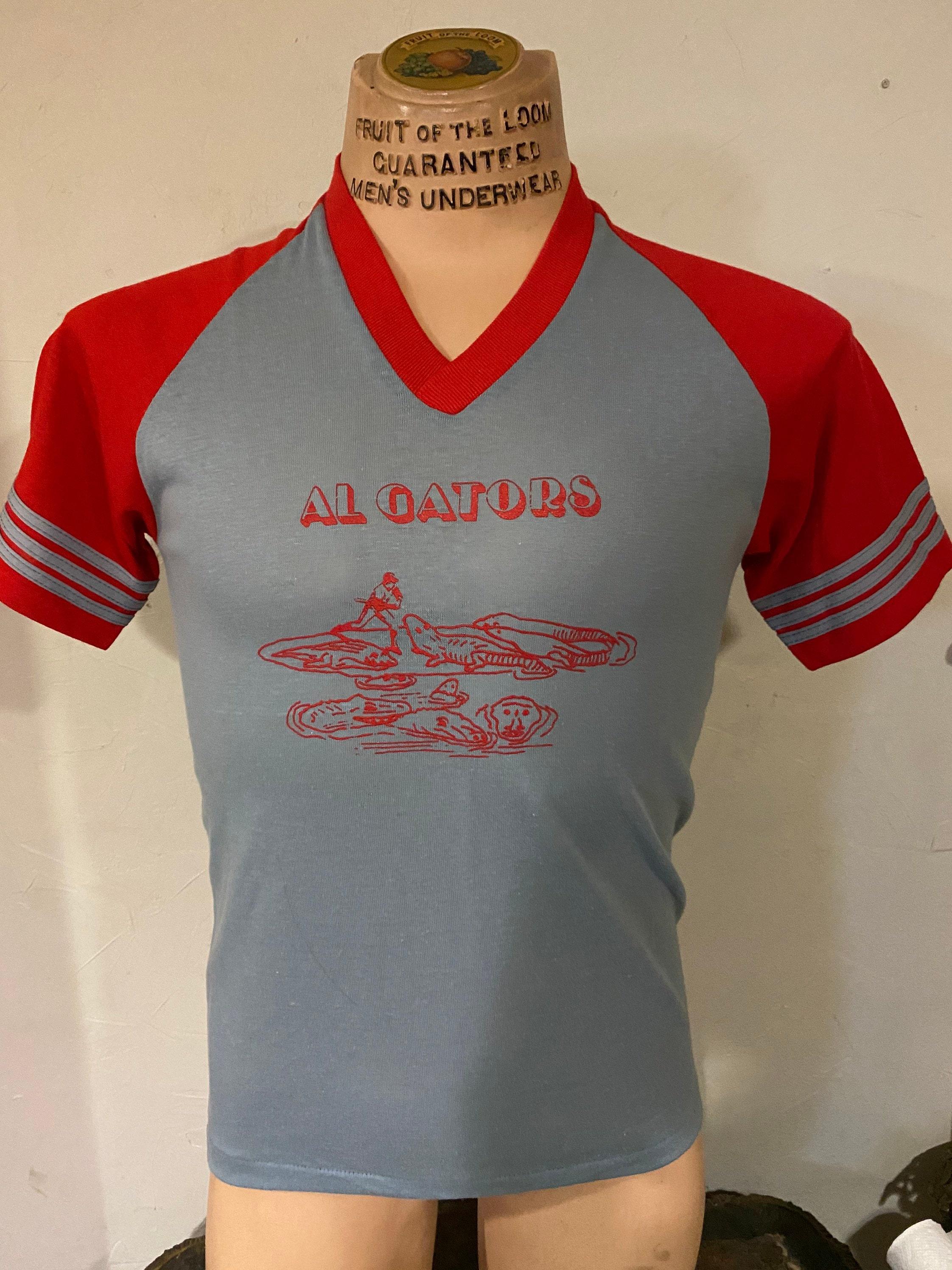 1970s Mens Shirt Styles – Vintage 70s Shirts for Guys 1970S Dodgers Sportswear Al Gators Aligators Baseball Jersey Shirt Vtg T-Shirt $0.00 AT vintagedancer.com