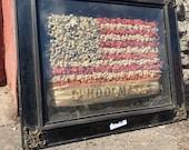 1900s Victorian Dried Flower American Flag DIORAMA Folk Art shadow box Country Early American Primitive Schoolmates