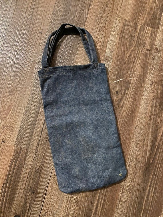 Vintage indigo Denim Jean Bag Workwear 1940s Lee … - image 1