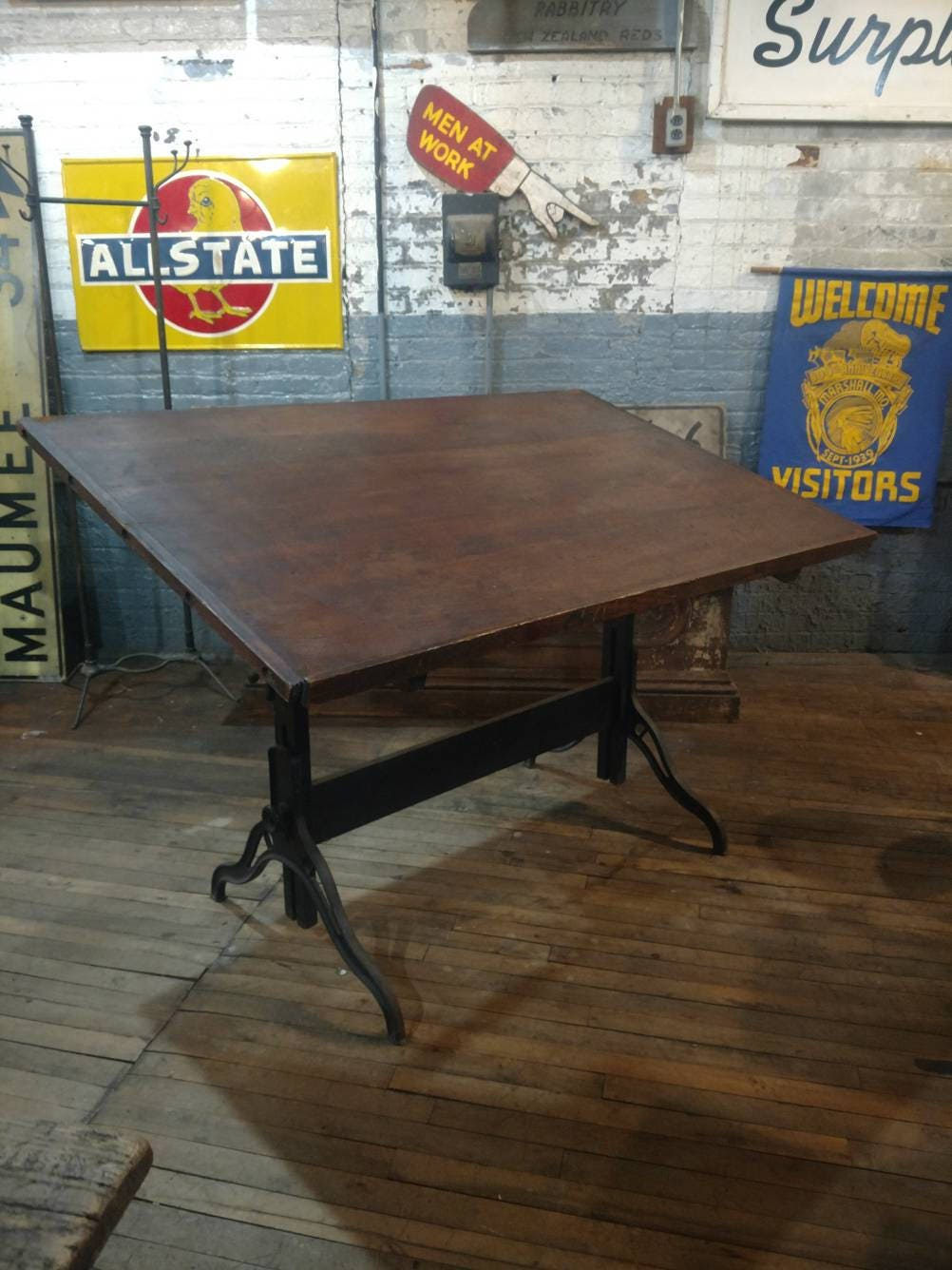 Dietzgen/Hamilton Cast Iron Drafting Table W/ Sprocket Steampunk Loft Study  Office Desk Industrial Art Table