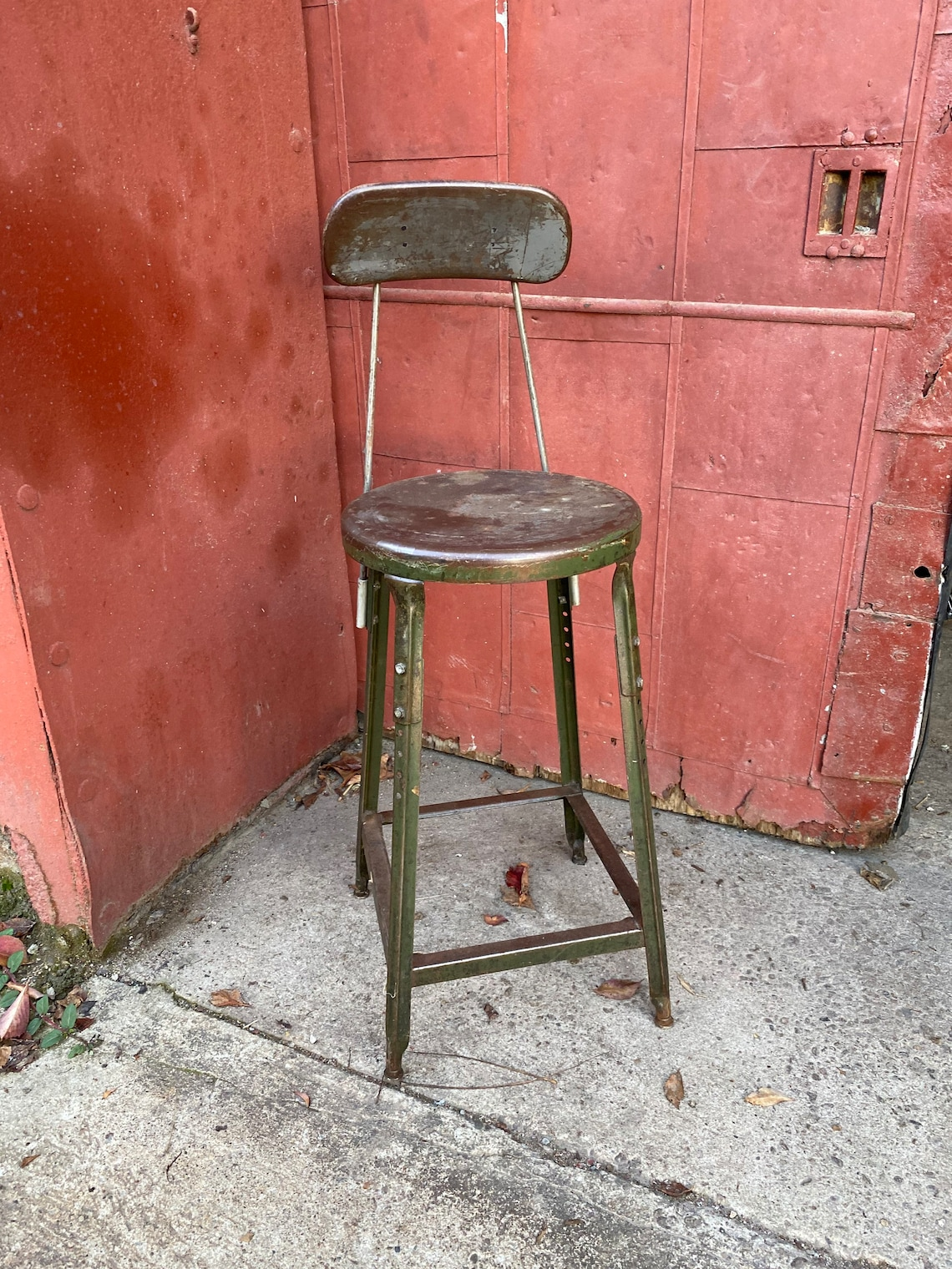 1930s Industrial Angle Iron Co Draftsman Stool Chair Metal Seat and Back Desk Kitchen Office