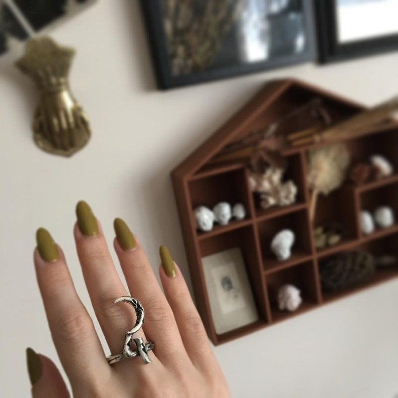 Tin (Jupiter) Silver Alchemy RING or PENDANT, Oxidized Silver Alchemical  Symbols Jewelry, Occult, Witchcraft, Magick, Moon and Serpent