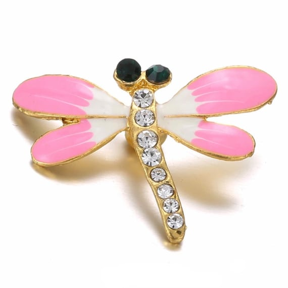 INSECT FITS GINGER SNAPS  MAGNOLIA /& VINE PINK DRAGONFLY SNAP 18mm
