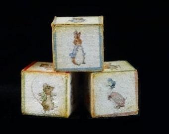 Miniature Beatrix Potter Cubes - Peter Rabbit & Friends - Set of 3