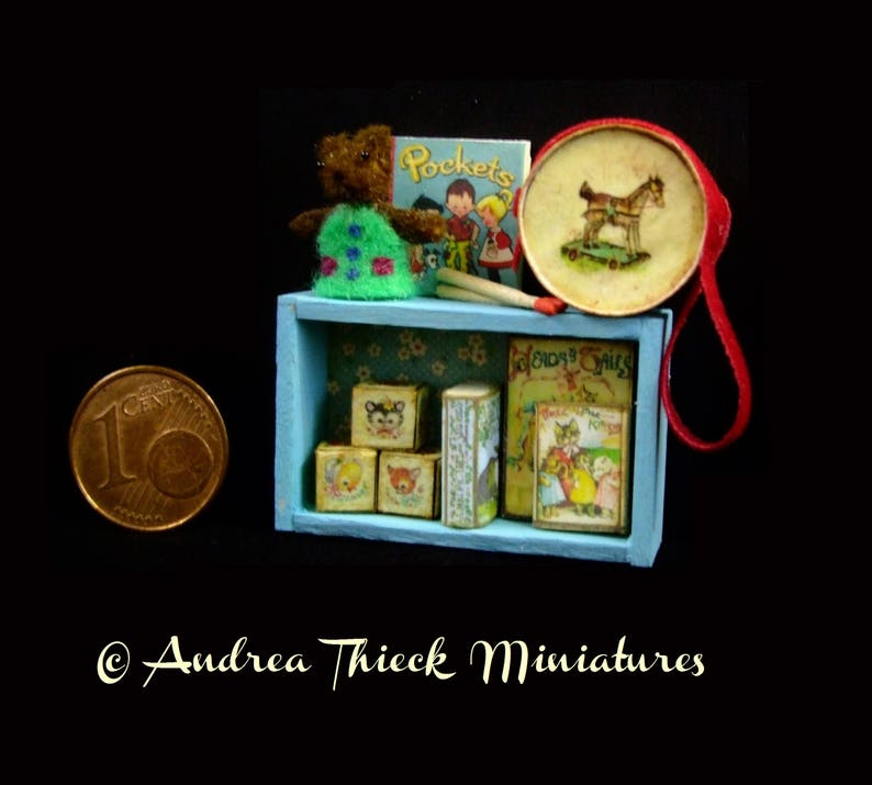 Miniature Toddler Toy Shelf  OOAK  1:12 scale image 0