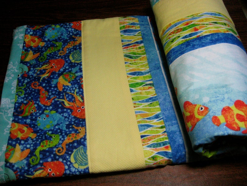 Handmade Ocean Animals Baby Quilt in Blue /& Yellow for the Nursery or Stroller