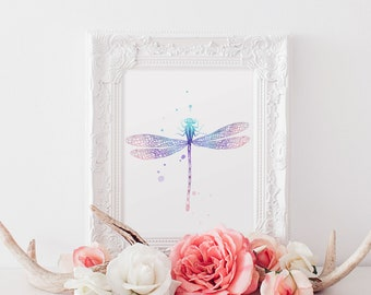 Watercolor Dragonfly - Dragonfly Art - Purple Dragonfly - Blue Dragonfly - Dragonfly Nursery - Dragonfly Wall Art - Insect Art - Nature Art