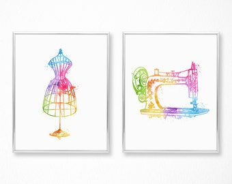 Gifts for Sewers - Sewing Machine Art - Dressform Mannequin - Watercolor Print Set - Sewing Gifts - Sewing Room Decor - Chic Decor