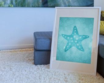 Starfish Art, Starfish Print 8 X 10, Sea Life Prints, Sea Life Nursery, Sea Life Art, Starfish Decor, Beach House Wall Art Decor