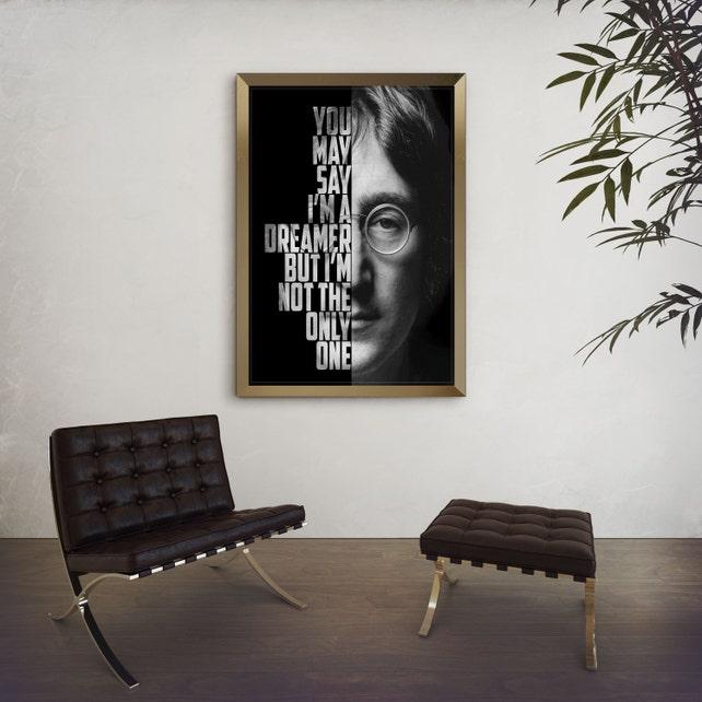 John Lennon Imagine John Lennon Poster Song Lyric Art | Etsy