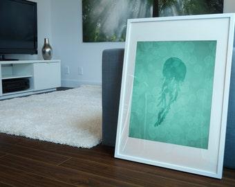Jellyfish Art, Jellyfish Print 8 X 10, Bathroom Decor, Nautical Decor, Nautical Print, Artwork, Illustration Gift, Wall Art, Under the Sea