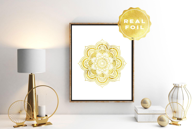 Mandala Wall Art Gold Mandala Print Real Gold Foil Print | Etsy