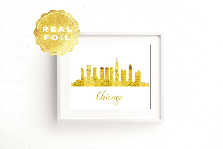 Chicago Skyline Chicago Print Gold Foil Chicago Chicago | Etsy
