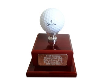 Hole in One Ace personalised Golf Trophy with free engraved plate