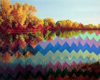 Autumn foliage zia zag drawing painting