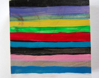 Striped abstract colorful painting wood panel art