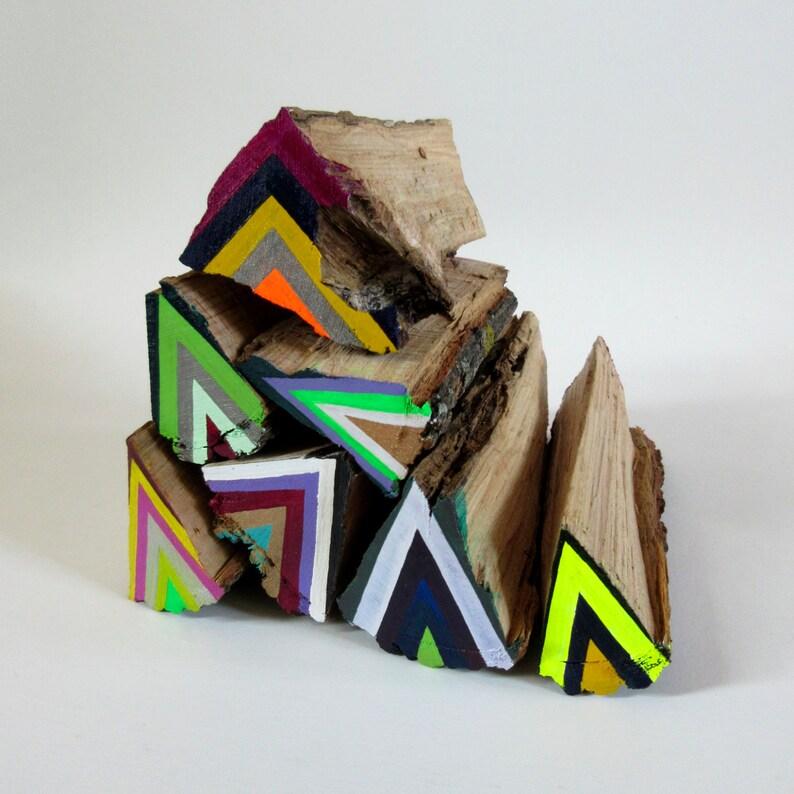 Moyenne Fluo Bûcheron Bois Sculpture Peinture Art Coloré Etsy