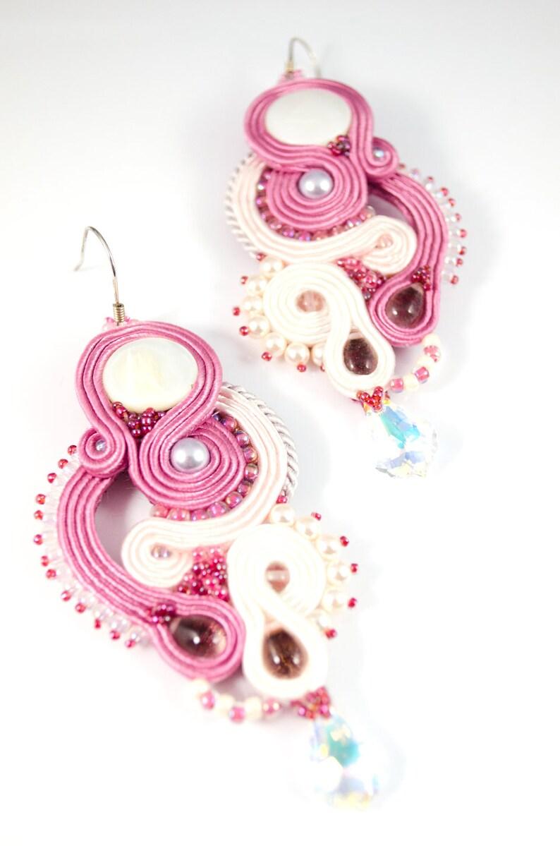 long soutache earrings long dangle earrings Rosa dangle soutache big soutache earrings long statement earrings coral ivory  earrings