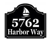 Sailboat Address sign - Personalized Address Metal Sign - Custom Address sign