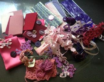 Miscellaneous sewing supplies (medium) - purple, pink, lavender