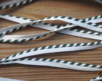 Vintage piping cord, 2+yards, green and white