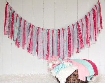 Rag Tie Banner, Burlap, Lace, Hot pink, aqua, Rag Tie Garland, Fabric Garland, Photo Prop, Wedding, Bridal Shower, Nursery, Custom