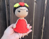 Frida Kahlo Doll, Mexican Artist , Crocheted Frida Plushie Doll