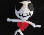 Plush Skeleton Keyring, Calavera Keychain, Spooky Skeleton, Gothic Horror Charm