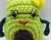 Ms. Avocado, Avocado Plush with glasses and a yellow flower