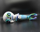 Day of the Dead Mermaid, Dia De Los Muertos Mermaid, Skeleton Mermaid, Mermaid Plush Sugar Skull