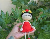 Frida Kahlo Doll,  Frida Kahlo Plush Doll, Yarn Doll, Frida Lover Gift, Customizable dress