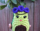 Frida Kahlo Plush, Frida Avocado Doll, Large Avocado Toy Doll
