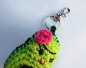 Frida Kahlo Avocado Keychain,  Frida Avokahlo Bag Charm, Fruit Plush Keyring, Vegetarian