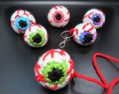 Custom, I Miss You, Crocheted Eyeball Keyring, Horror Charm, Creepy Stress Ball Keychain, Gifts for Teens