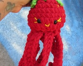 Strawberry Octopus Doll, Fruit Plushie,  Summer Sweet Cephalopod Toy