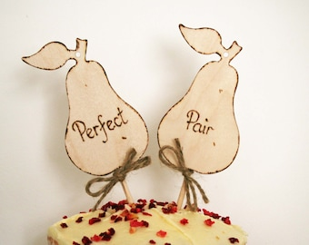 Wedding Cake Topper Rustic Cake Topper Perfect Pair Pear Cake Topper