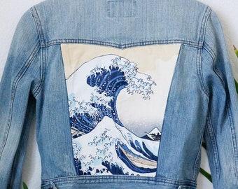ffdeb7d6 Hand-painted denim jacket -- The Great Wave Off Kanagawa