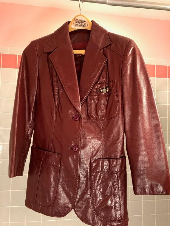 125996a3e Vintage Etienne Aigner Women's burgundy leather blazer circa 1980's Size  6/Small Gorgeous!