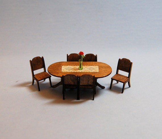 Dollhouse Miniature Laser Cut 1:48 Wooden Round Table /& 2 Chairs set  1//4 inch