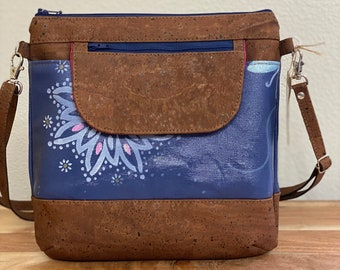 Slim Crossbody, Hand Painted Bag with Cork accents