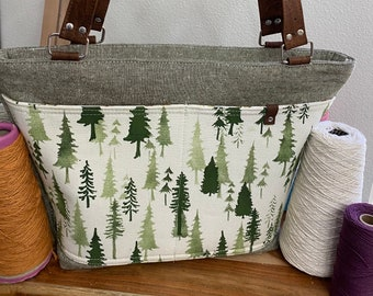 Tree Print, One of a Kind, Fabric Tote